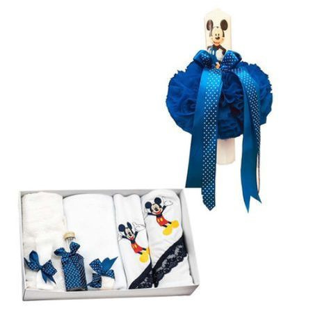 rusou botez brodat Mickey Mouse si lumanare botez, 8 piese, bleumarin