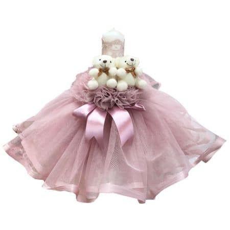 Lumanare de botez, ursuleti, roz pal, 28 cm
