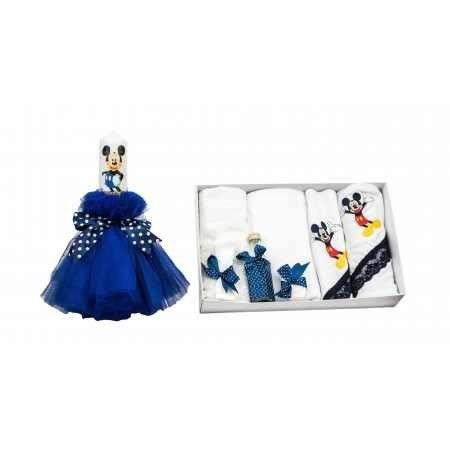 Set botez Mickey Mouse, lumanare si trusou, bleumarin