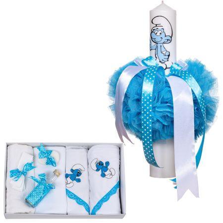 Set lumanare si trusou pentru botez Strumf bleu