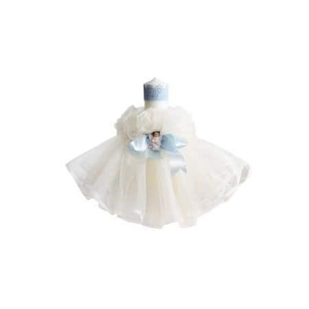 Lumanare de botez ingras alb-bleu