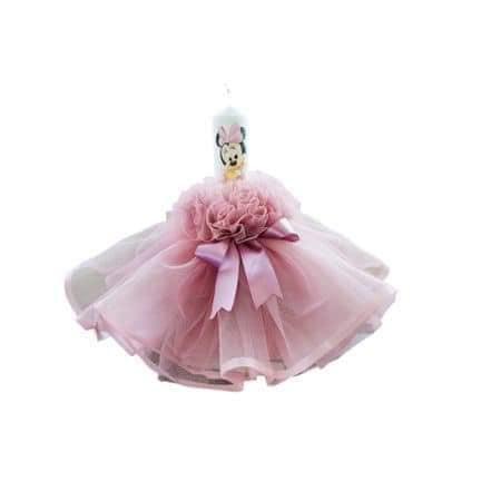 Lumanare de botez Minnie roz vintage