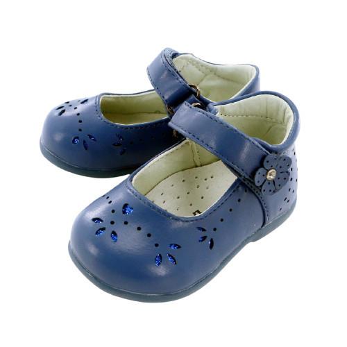Pantofi fete,albastru cu floricica