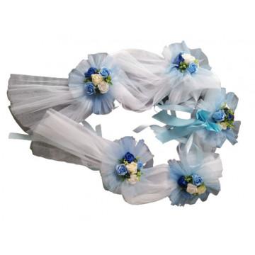 Aranjament cristelnita cu flori artificiale,albastru