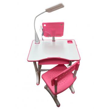 Birou cu scaun pentru copii si lampa,roz
