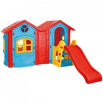 Casuta cu tobogan pentru copii Pilsan Double Happy House blue