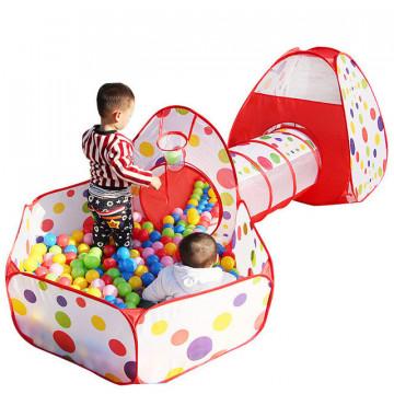 Cort si tunel centru de joaca pentru copii 3in1