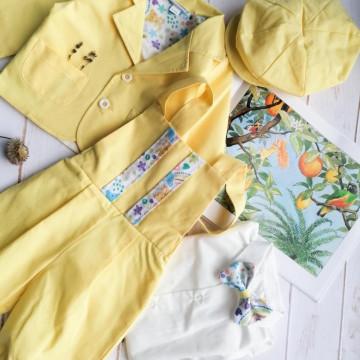 Costum elegant de baieti,marimi 2-4,5-8 luni,5 piese,galben.