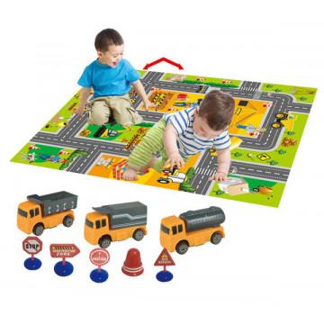 Covoras de joaca,cu masinute incluse-constructi.