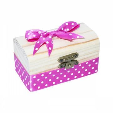 Cutiuta din lemn pentru suvita sau amintiri, roz buline