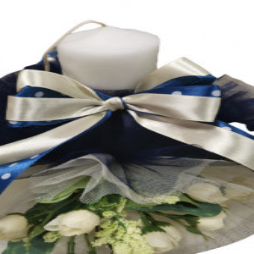 Lumanare de botez bleumarin/crem, cu ornamente florale, hug 101, en gross