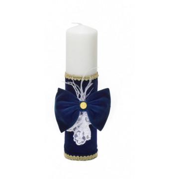 Lumanare de cor catifea bleumarin
