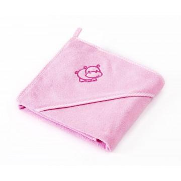 Prosop cu gluga Sensilllo HIPPO 80x80 cm Pink/Roz