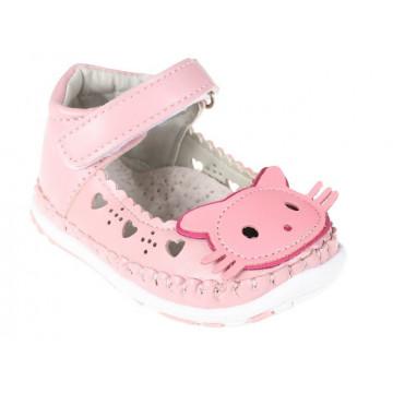 Sandale bebe, ortopedice , piele, roz,Pisicuta, 17-20