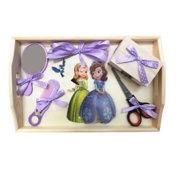 Tavita pentru turta, 4 piese, lemn, violet