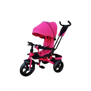 Tricicleta 5099EVA cu pozitie de somn, scaun reversibil, far cu lumini si muzica, roz