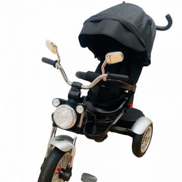 Tricicleta cu far luminos si sunete, Maner reversibil, 4499 - Negru