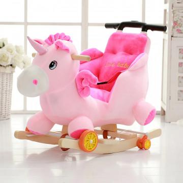 Balansoar de lemn cu roti Unicorn roz