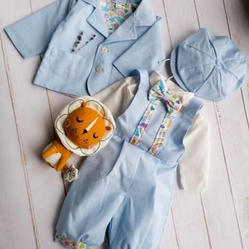 Costum elegant de baieti,marimi 2-4,5-8 luni,5 piese,albastru