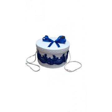 Cutie pentru trusou, alba, dantela albastra