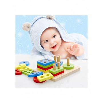 Joc Montessori din lemn Coloane Sortatoare Invata Formele Si Culorile Patrat