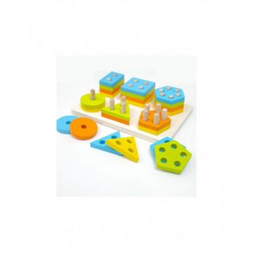 Joc Montessori din lemn cu 6 Coloane Sortatoare Invata Formele Si Culorile
