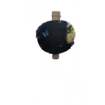 Lumanare de botez bleumarin cu trandafiri, cu ornamente florale, hug 102