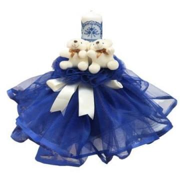 Lumanare de botez dantelata, ursuleti bleumarin 28 cm