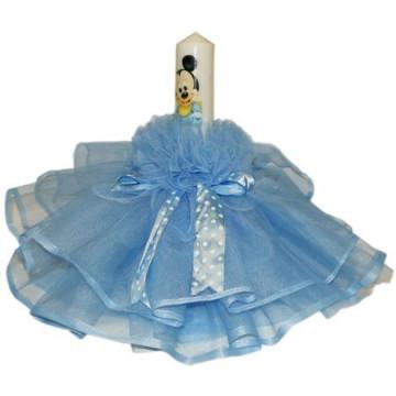 Lumanare pentru botez, bleu, 35X5 cm