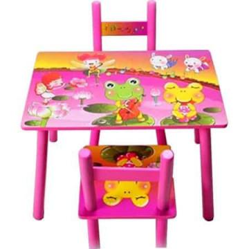 Masuta copii din MDF cu doua scaune , My first table, dimensiuni 59X39X40, suprafata lucioasa, Roz