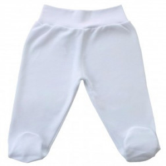 Pantaloni albi bebelusi, banta lata in talie