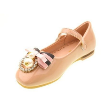 Pantofi eleganti fete, cu aplicatie, roz pal