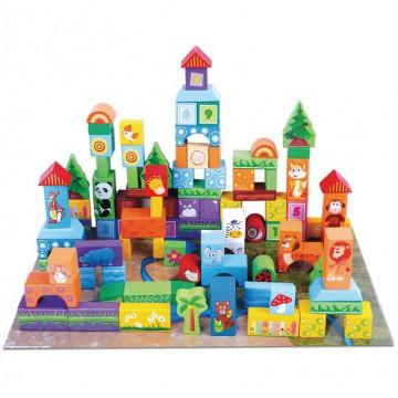 Set 100 Cuburi De Construit Regatul Animalelor Salbatice