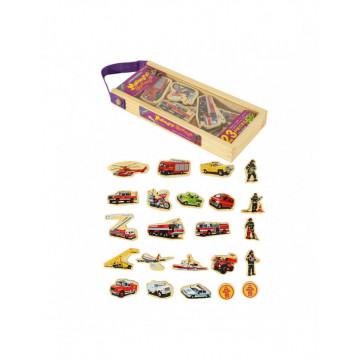 Set 23 piese magnetice din lemn, cu ilustratii grafice mijloace de transport