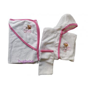 Set de baie 3 piese, halat, prosop cu capison si manusa, alb/roz