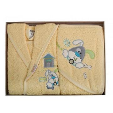 Set de baie pentru copii 2-3 ani,4 piese,Ramel,galben