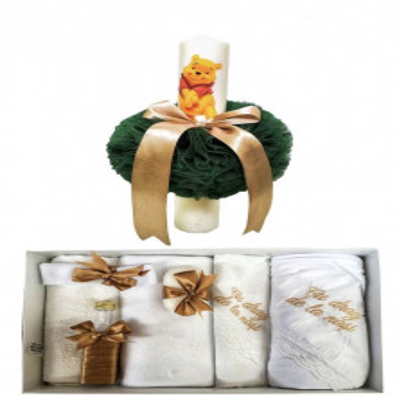 Set lumanare cu trusou Winnie, verde/auriu