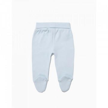 Set pantaloni bebe ,2 bucati,banta lata,alb/albastru