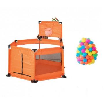 Tarc de joaca bebe cu bile colorate si cos de baschet,portocaliu