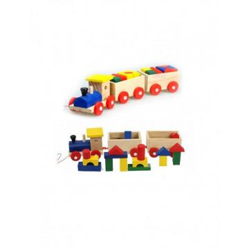Tren Cu 2 Vagoane Cu Forme Geometrice Din Lemn