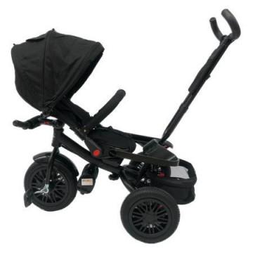 Tricicleta cu scaun rotativ, pozitie de somn, roti din cauciuc pline, sistem free wheel, neagra