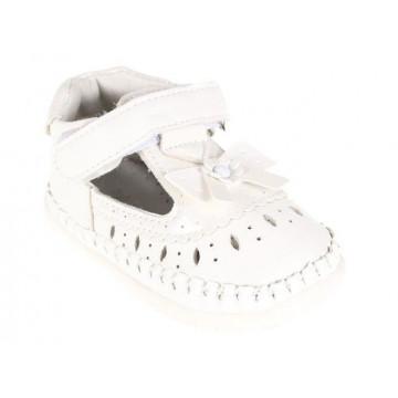 Sandale bebe, ortopedice , piele, albe, 17-20