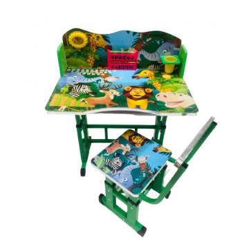 Birou cu scaun pentru copii, reglabile, cadru metalic si lemn,Jungla