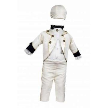 Costum botez model Micul Imparat bleumarin-alb-auriu