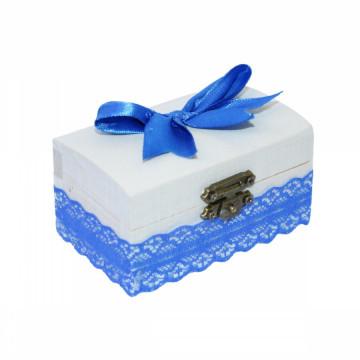 Cutiuta din lemn pentru suvita sau amintiri, albastru
