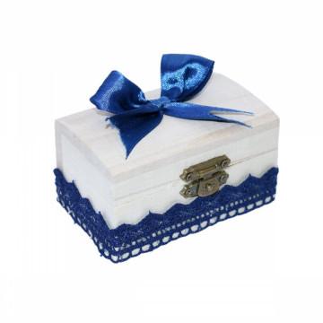 Cutiuta din lemn pentru suvita sau amintiri, bleumarin dantela