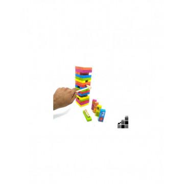 Joc 3 in 1 cuburi tip Jenga Color cu animale