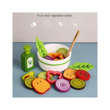 Joc lemn Bolul cu salata de fructe sau legume