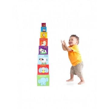Joc Montessori Educativ Turnul 8 Din Lemn, cu Sortator de Forme