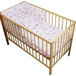 Lenjerie patut bebe cu 4 piese Inimioare roz